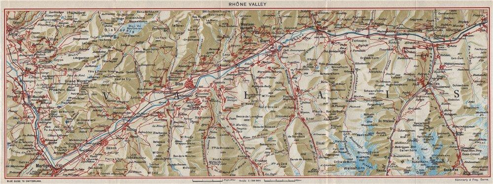 Associate Product VALAIS RHÔNE VALLEY. Villars Nendaz Sion Crans-Montana. Switzerland 1948 map