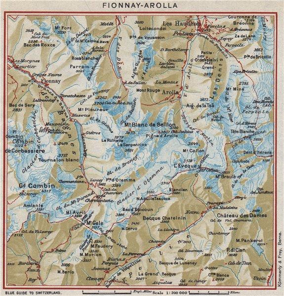 FIONNAY-AROLLA. Vintage map plan. Les Haudères. Switzerland 1948 old