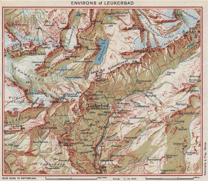 Associate Product LEUKERBAD & ENVIRONS. Rinderhorn Schneehorn Balmhorn. Switzerland 1948 old map