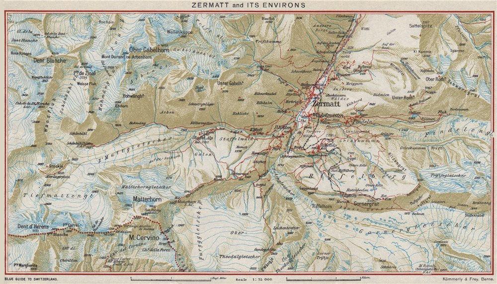 Associate Product ZERMATT & ENVIRONS.Matterhorn Breuil-Cervinia Dent Blanche.Switzerland 1948 map