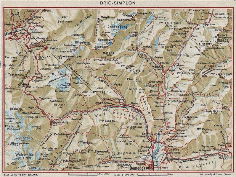 Associate Product SIMPLON TUNNEL. Brig Domodossola. Vintage map plan. Switzerland Italy 1948