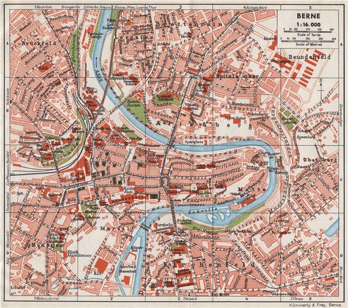 Associate Product BERNE. Vintage town city map plan. Switzerland. Berne 1948 old vintage