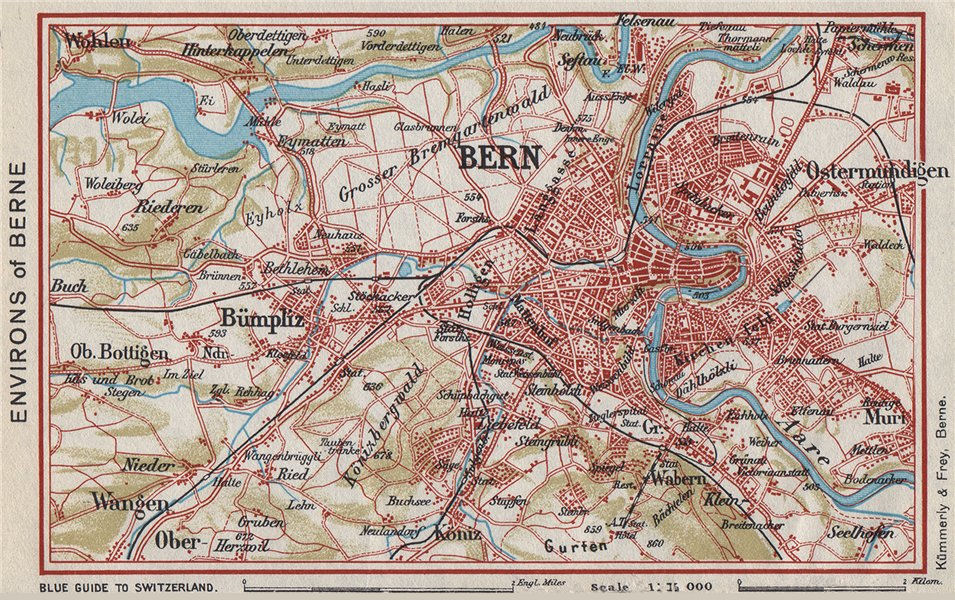Associate Product BERNE BERNE ENVIRONS. Bümpliz Ostermundigen. Vintage map. Switzerland 1948