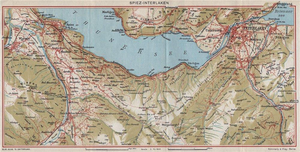 Associate Product SPIEZ-INTERLAKEN. Beatenberg Aeschi Thunersee. Vintage map. Switzerland 1948