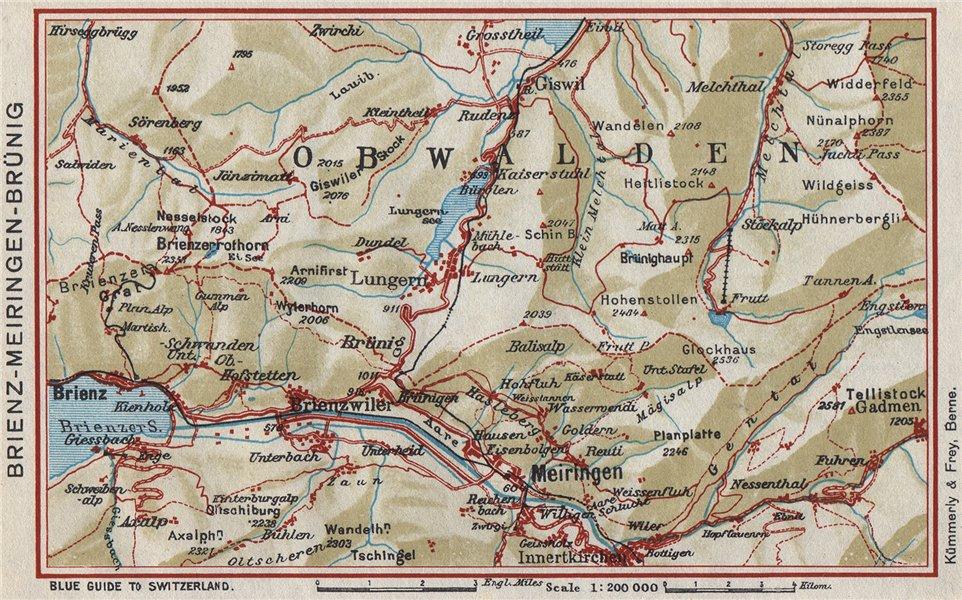 Associate Product BRIENZ AXALP MEIRINGEN BRÜNIG. Lungern Bürglen. Vintage map. Switzerland 1948