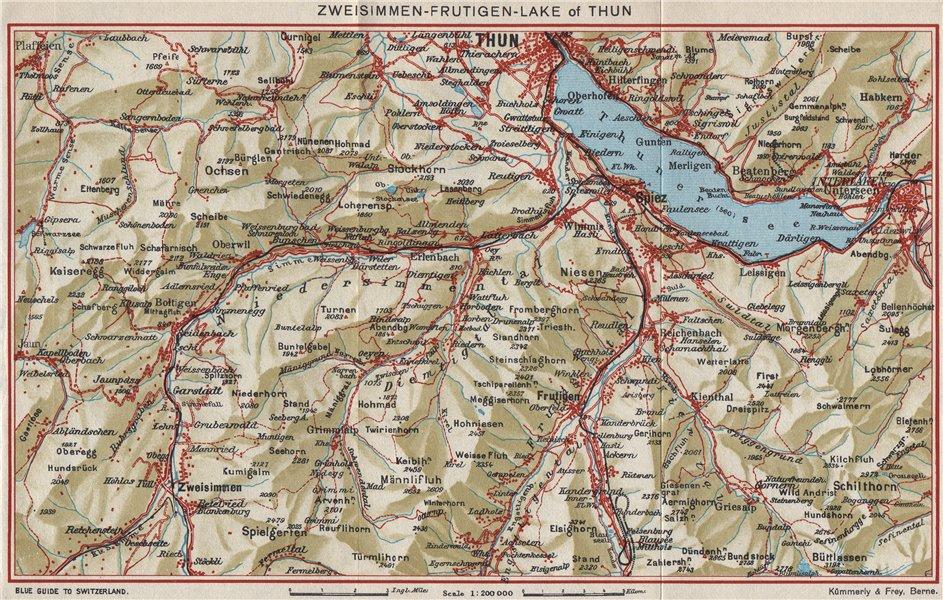 Associate Product ZWEISIMMEN FRUTIGEN THUNERSEE. Interlaken Spiez Kienthal Aeschi 1948 old map