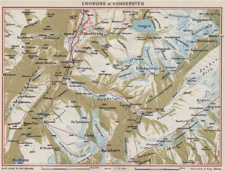 Associate Product KANDERSTEG ENVIRONS. Blümlisalp Berne Doldenhorn. Vintage map. Switzerland 1948