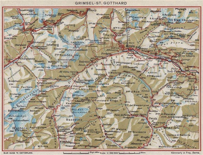 Associate Product GRIMSEL-ST. GOTTHARD. Airolo Val Bedretto. Vintage map plan. Switzerland 1948
