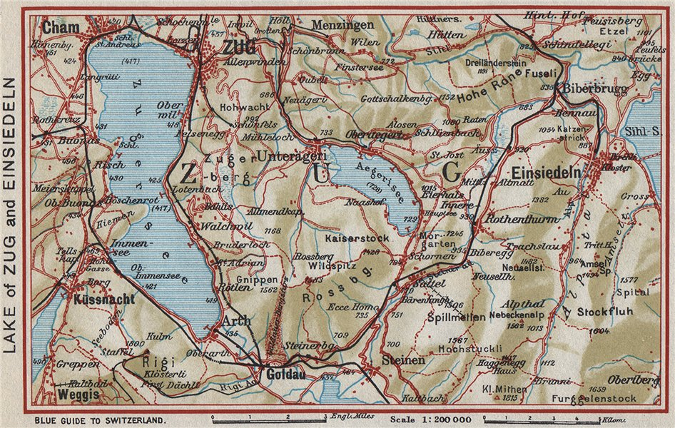 Associate Product LAKE OF ZUG AND EINSIEDELN. Cham Goldau Küssnacht. Vintage map. Switzerland 1948