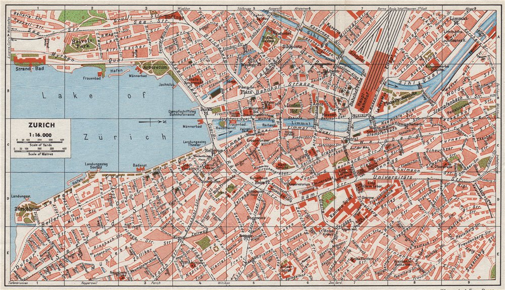 Associate Product ZÜRICH ZURICH. Vintage town city map plan. Switzerland 1948 old vintage