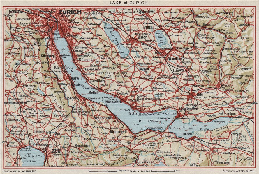 Associate Product LAKE ZÜRICH. Zürichsee Zug Uster Rüti Rapperswil. Vintage map. Switzerland 1948