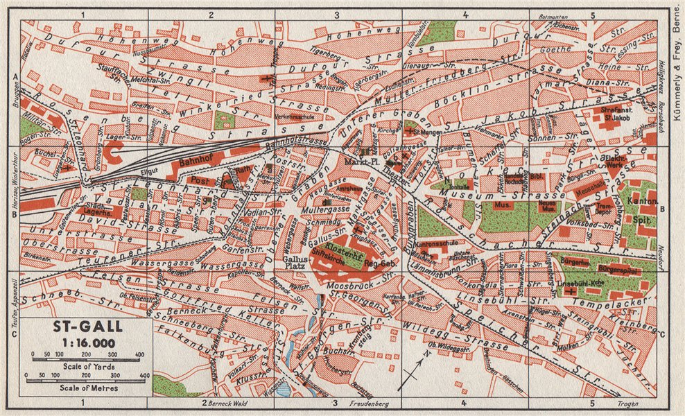 Associate Product ST-GALL ST-GALLEN. Vintage town city map plan. Switzerland 1948 old