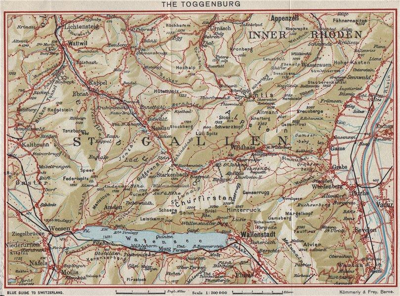 Associate Product TOGGENBURG. Walensee Filzbach Flumserberg Ebenalp Alt St Johann 1948 old map