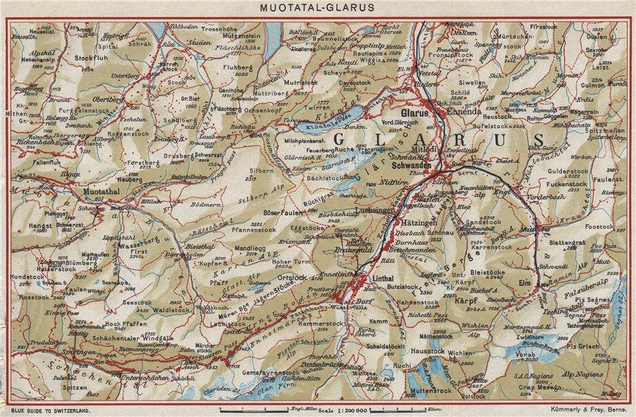 Associate Product MUOTATAL-GLARUS. Elm Bruanwald Schwanden. Vintage map plan. Switzerland 1948