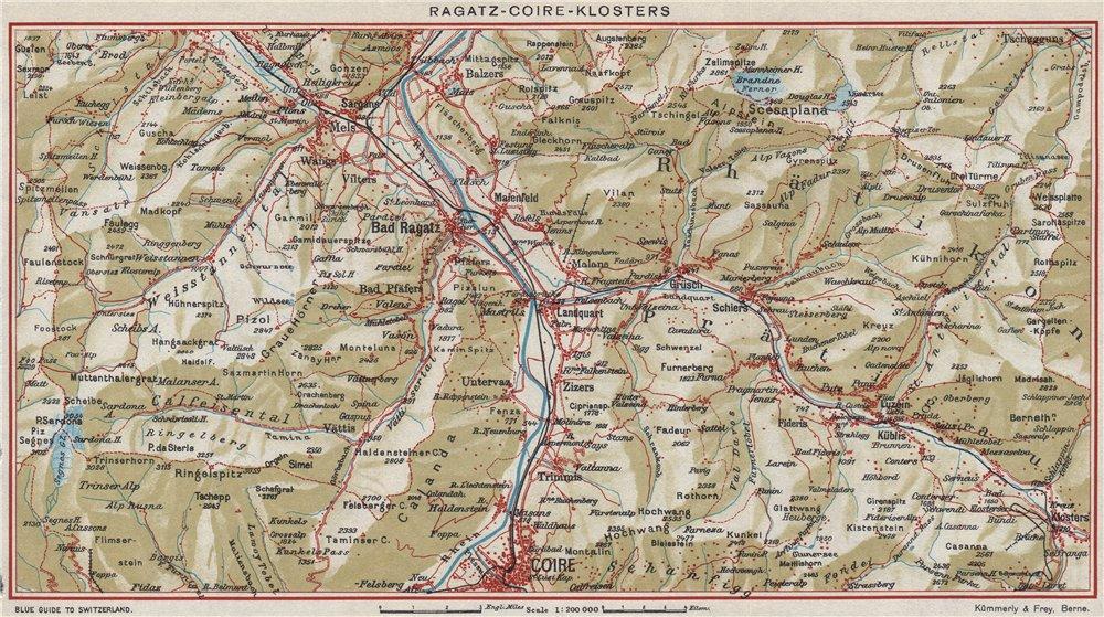 Associate Product RAGATZ-CHUR-KLOSTERS. Grusch Bad Ragaz Fideris. Vintage map. Switzerland 1948