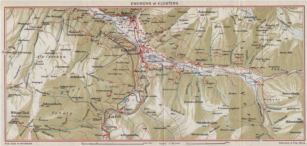 Associate Product KLOSTERS & ENVIRONS. Klosters Dorf. Vintage map plan. Switzerland 1948 old