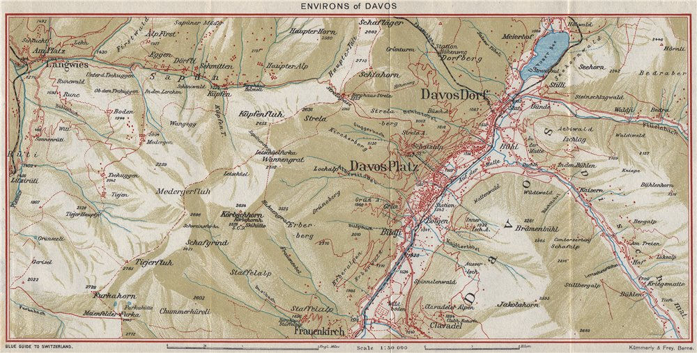DAVOS & ENVIRONS. Davos Dorf Davos Platz. Vintage map plan. Switzerland 1948