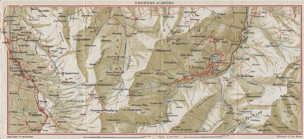 Associate Product AROSA ENVIRONS. Churwalden Weisshorn. Vintage map plan. Switzerland 1948