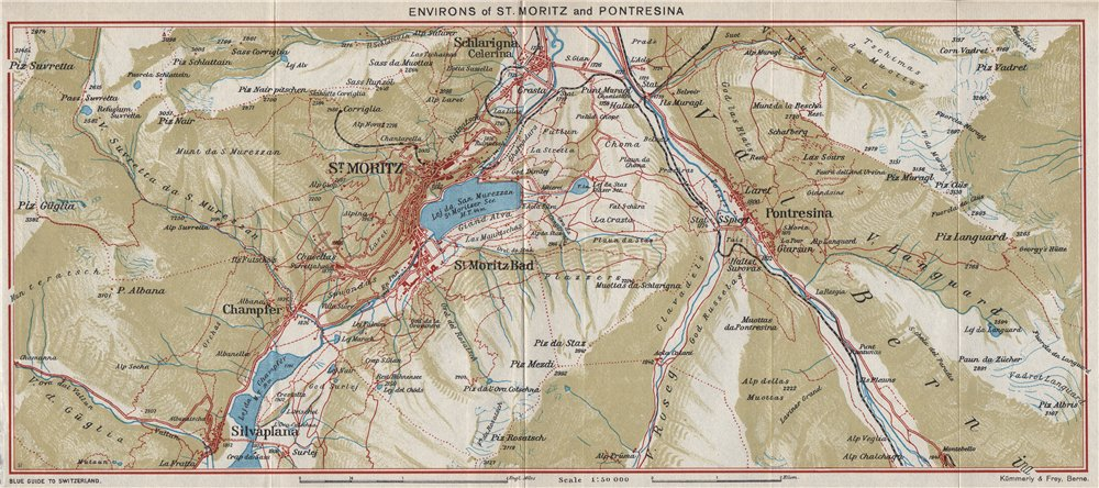 Associate Product ST MORITZ & PONTRESINA ENVIRONS.Celerina/Schlarigna Silvaplana Champfer 1948 map