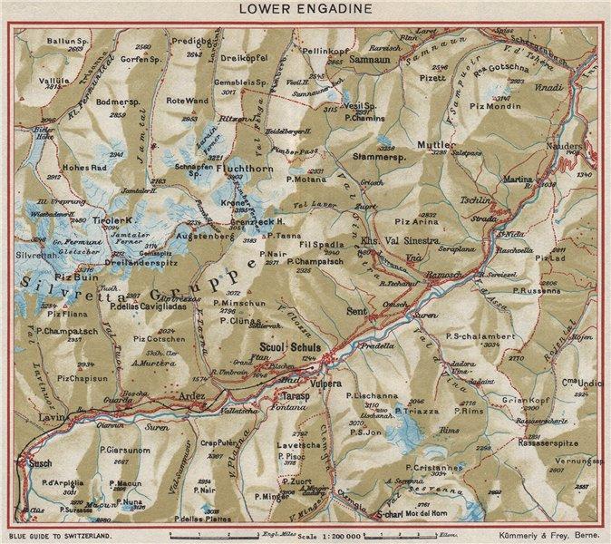 Associate Product LOWER ENGADIN. Scoul/Schuls. Silvretta Gruppe. Unterengadin. Vintage map 1948