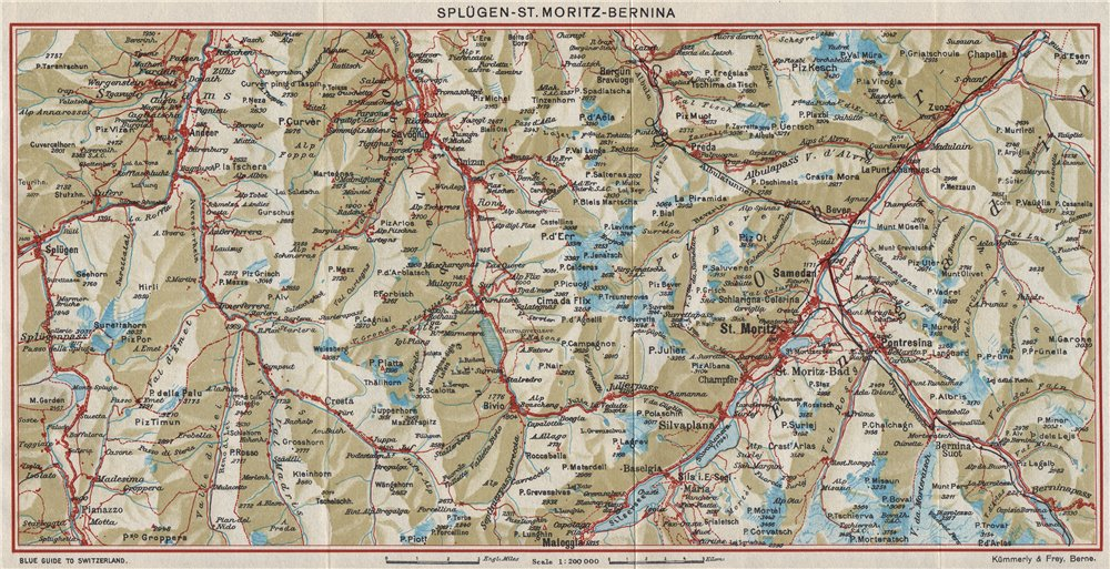 Associate Product SPLÜGEN ST. MORITZ BERNINA. Cresta Bivio Maloja Celerina. Switzerland 1948 map