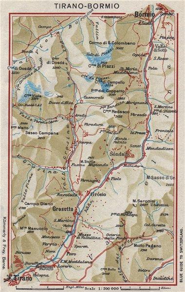 Associate Product FIUME ADDA. Tirano Bormio Grosotto. Via Stelvio. Vintage map plan. Italy 1948