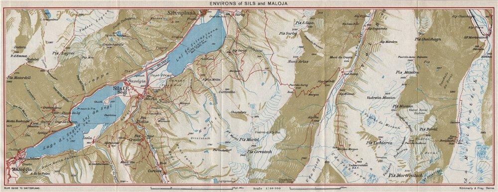 Associate Product SILS & MALOJA ENVIRONS. Silvaplana. Silsersee. Vintage map. Switzerland 1948