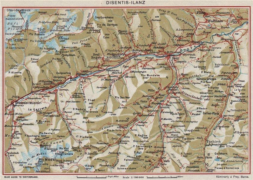 VORDERRHEIN. Flims Laax Falera Briel Andiast Waltensburg Disentis Ilanz 1948 map