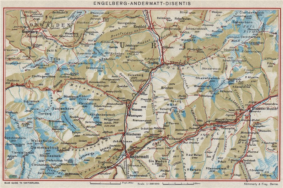 Associate Product ENGELBERG ANDERMATT DISENTIS-SEDRUN. Uri Grisons Berne. Vintage map 1948