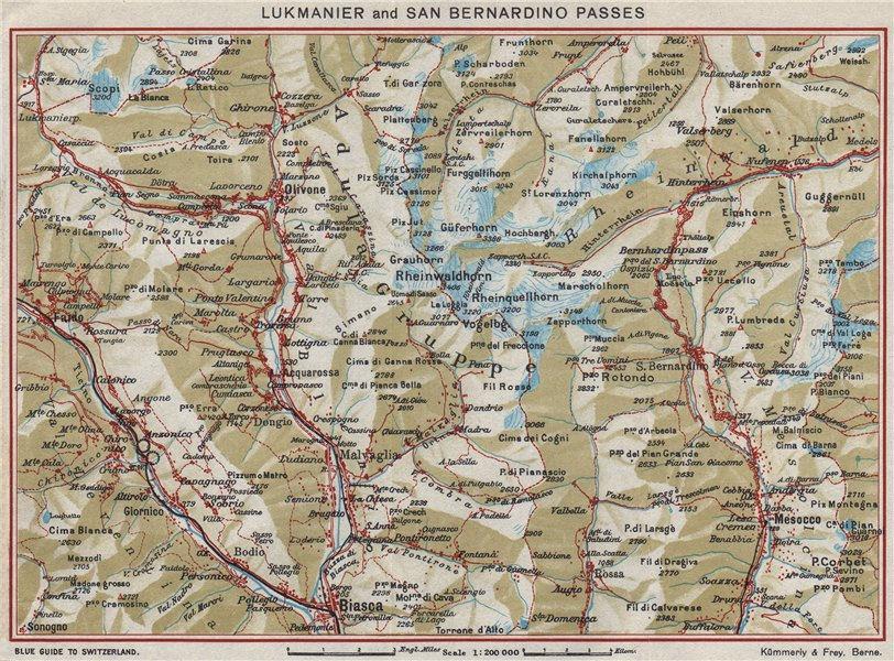 Associate Product LUKMANIER & SAN BERNARDINO PASSES. Olivoire Biasca Mesocco Nava Ticino 1948 map