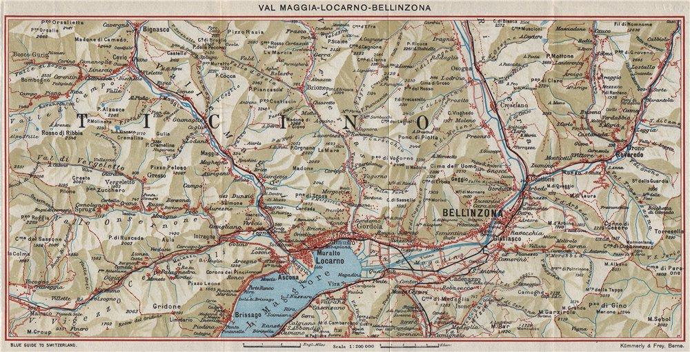 Associate Product VAL MAGGIA-LOCARNO-BELLINZONA. Ticino Lake Maggiore Cardada. Vintage map 1948