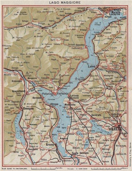 Associate Product LAKE LAKE MAGGIORE. Varese Locarno Arona Omegna Luino. Vintage map. Italy 1948