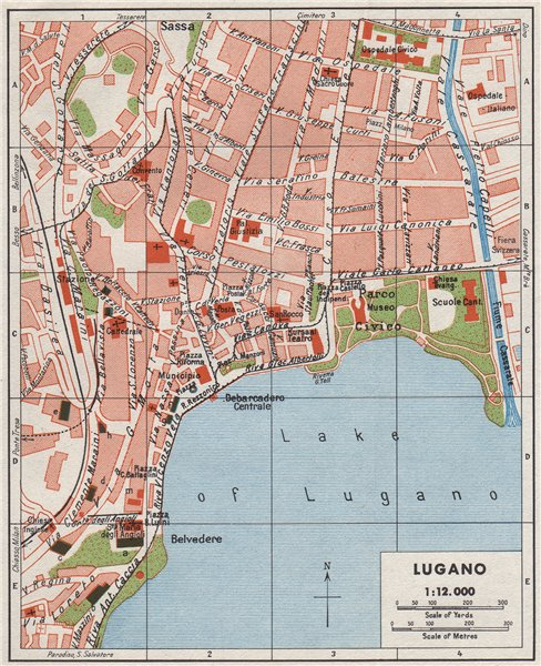 Associate Product LUGANO. Vintage town city map plan. Switzerland 1948 old vintage chart