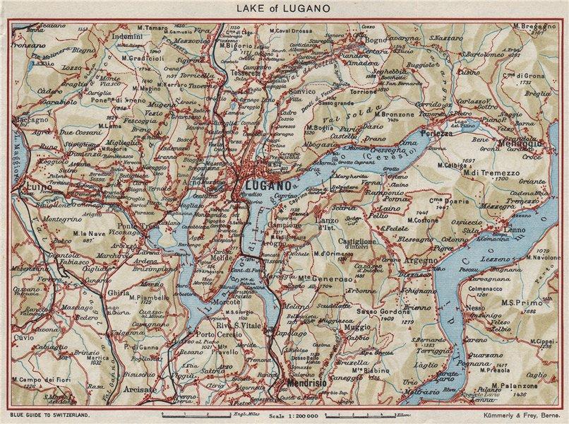 Associate Product LAKE OF LUGANO. Vintage map plan. Lago di Lugano. Switzerland Italy 1948