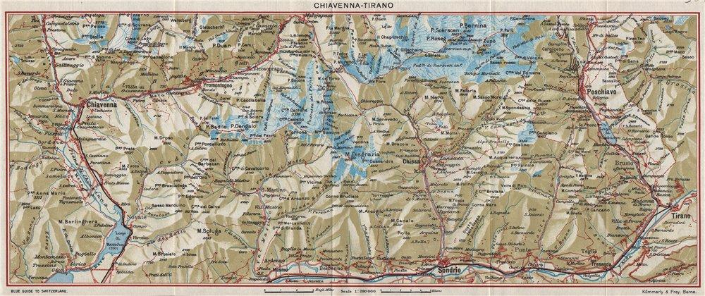 Associate Product CHIAVENNA-TIRANO. Chiesa Poschiavo Maloja Sondrio. Vintage map plan. Italy 1948