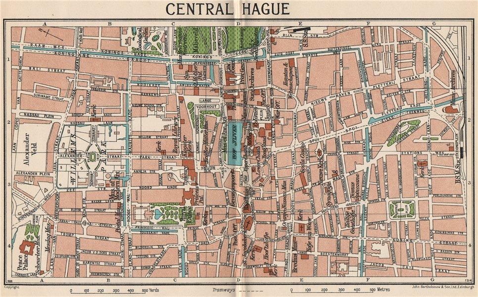 Associate Product CENTRAL HAGUE. Vintage town city map plan. Netherlands 1933 old vintage