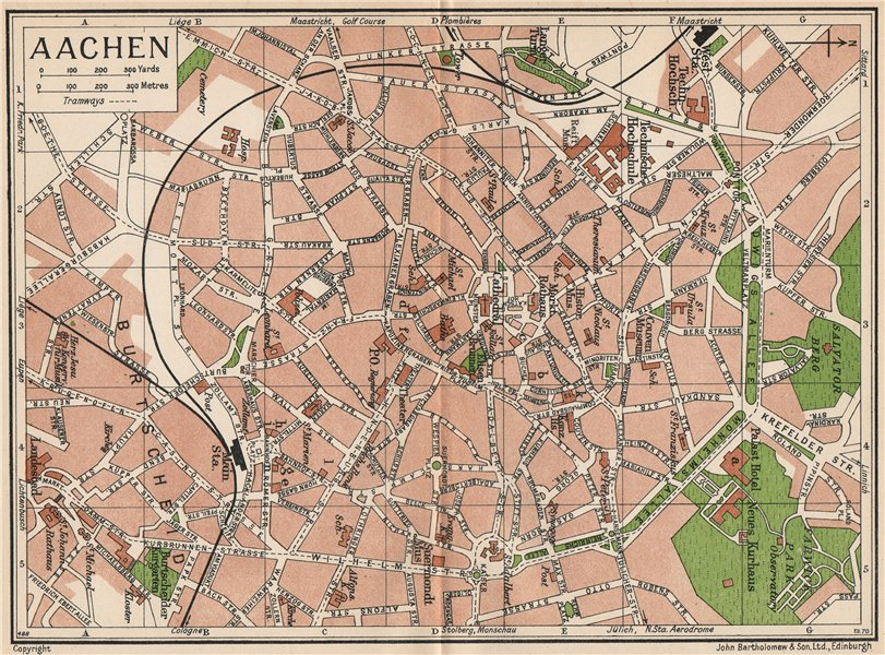 Associate Product AACHEN. Vintage town city map plan. Germany 1933 old vintage chart