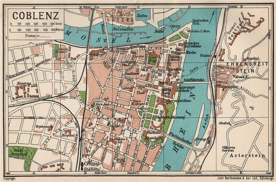 Associate Product COBLENZ. Vintage town city map plan. Germany 1933 old vintage chart