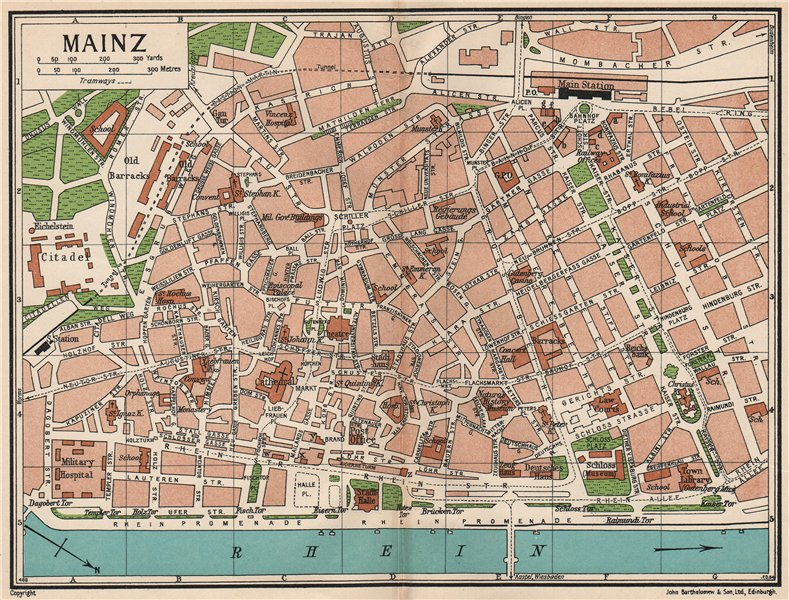 Associate Product MAINZ. Vintage town city map plan. Germany 1933 old vintage chart