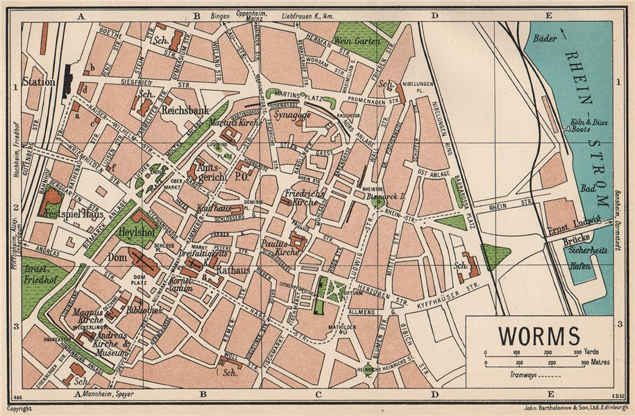Associate Product WORMS. Vintage town city map plan. Germany 1933 old vintage chart