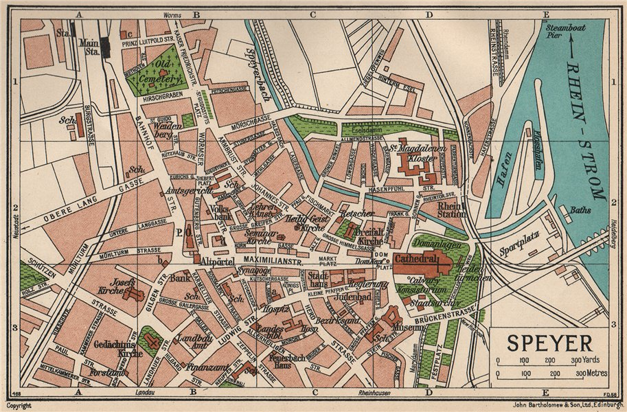 Associate Product SPEYER. Vintage town city map plan. Germany 1933 old vintage chart
