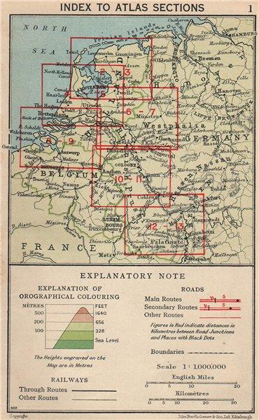 RHINE VALLEY. Index map. Vintage map plan. Netherlands Germany 1933 old