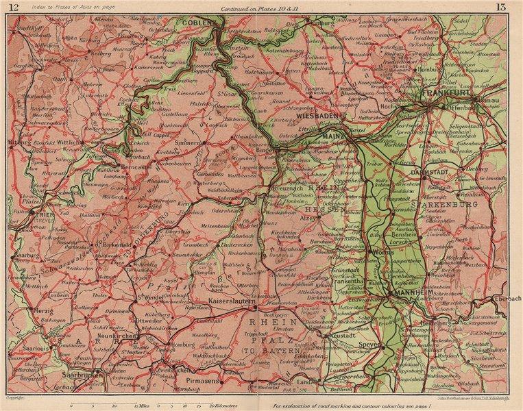 RHINE VALLEY. Coblenz Frankfurt Wiesbaden Mannheim Worms Darmstadt 1933 map