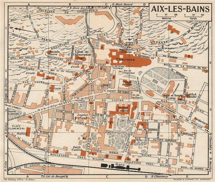 Associate Product AIX-LES-BAINS. Vintage town city map plan. Savoie 1954 old vintage chart