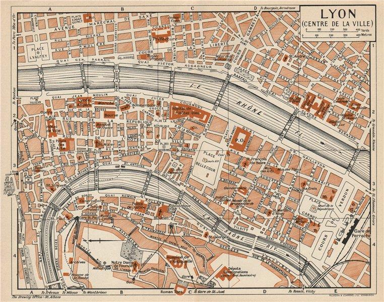 Associate Product LYON LYONS. Centre de la ville. Vintage town city map plan. Rhône 1954 old