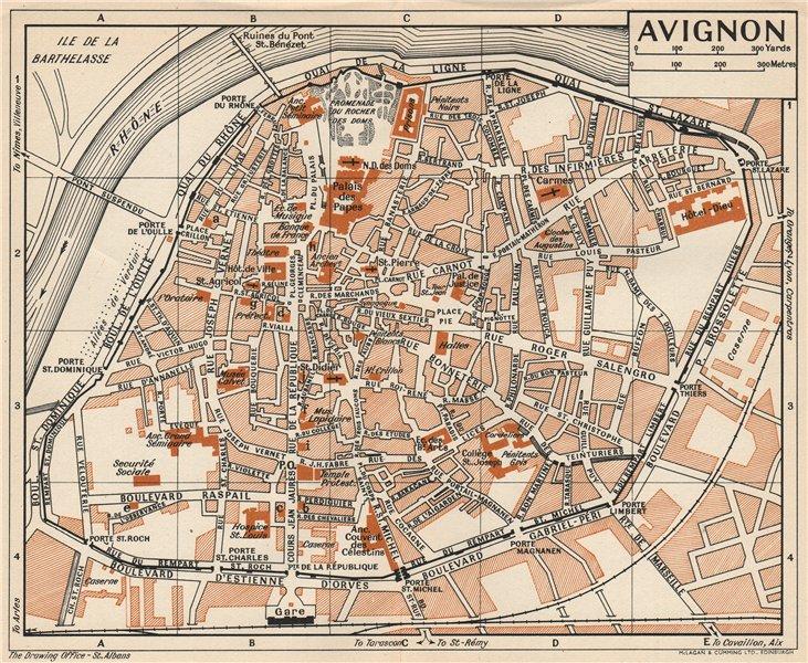 Associate Product AVIGNON. Vintage town city map plan. Vaucluse 1954 old vintage chart