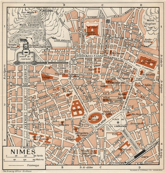 Associate Product NIMES. Vintage town city map plan. Gard 1954 old vintage chart