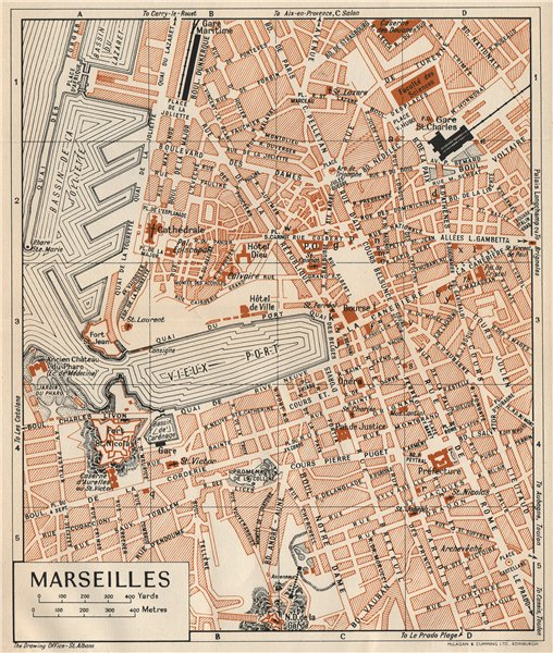 Associate Product MARSEILLES. Vintage town city map plan. Bouches-Du-Rhône 1954 old vintage