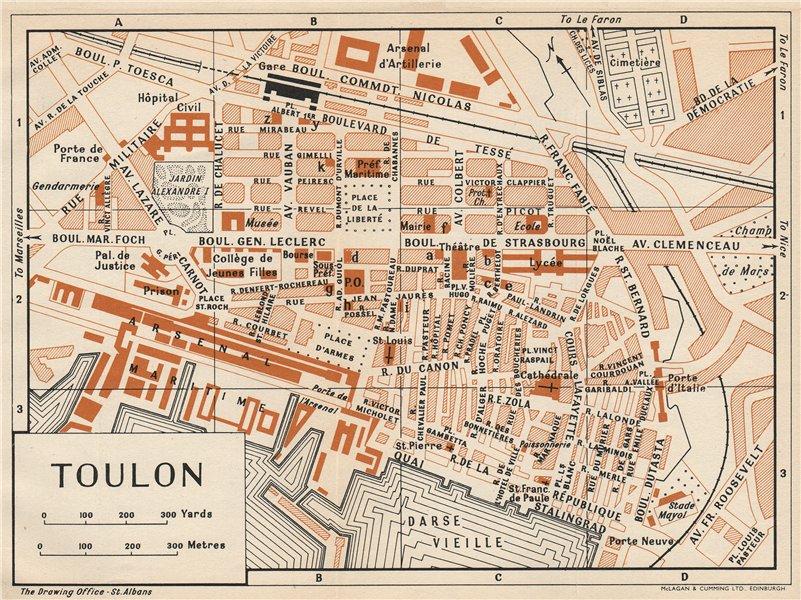 Associate Product TOULON. Vintage town city map plan. Var 1954 old vintage chart