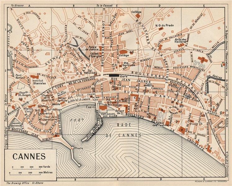 Associate Product CANNES. Vintage town city map plan. Alpes-Maritimes 1954 old vintage chart